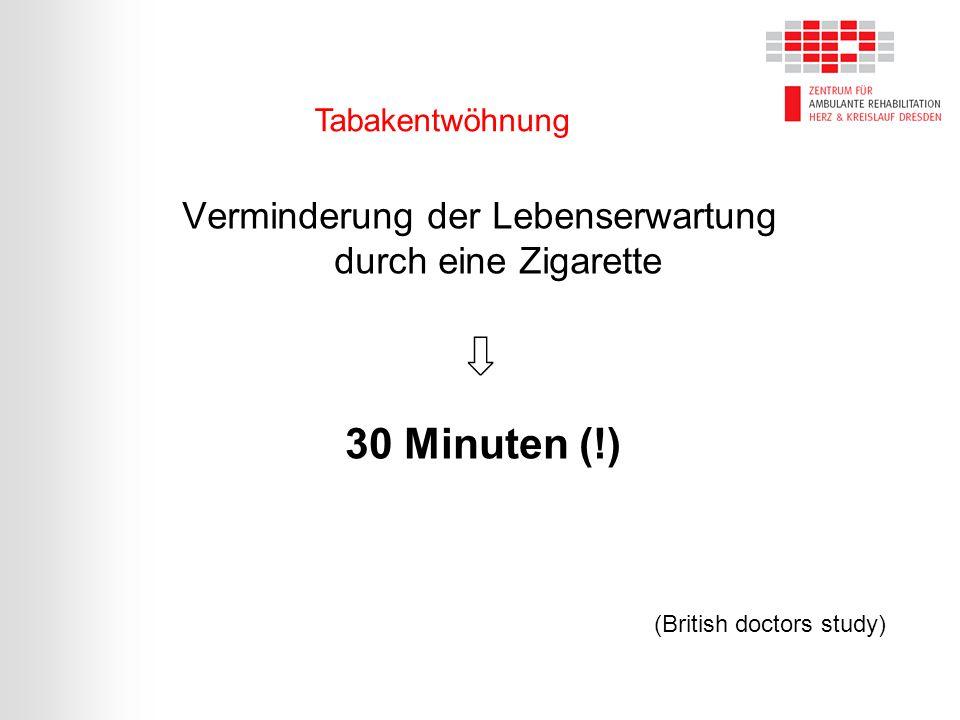 Verminderung der Lebenserwartung durch eine Zigarette ⇩ 30 Minuten (!) (British doctors study) Tabakentwöhnung