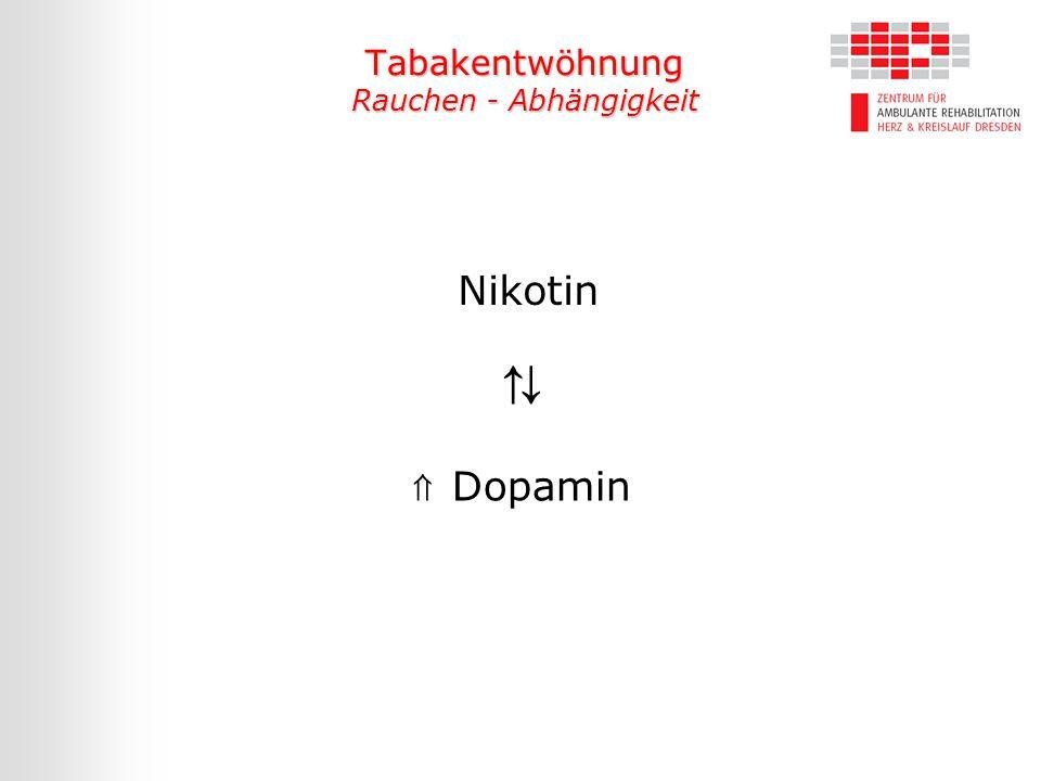 Tabakentwöhnung Rauchen - Abhängigkeit Nikotin ⇑ Dopamin ⇅