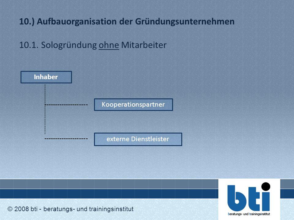 10.) Aufbauorganisation der Gründungsunternehmen 10.1. Sologründung ohne Mitarbeiter © 2008 bti - beratungs- und trainingsinstitut Inhaber Kooperation