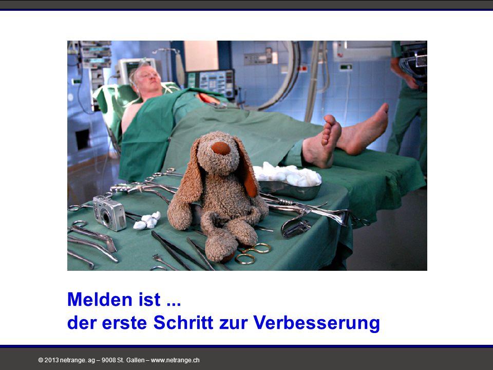 © 2013 netrange. ag – 9008 St. Gallen – www.netrange.ch Melden ist... der erste Schritt zur Verbesserung