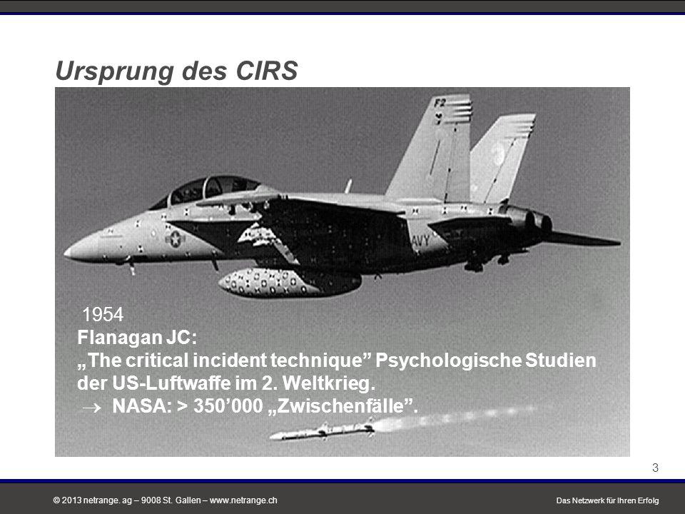 """© 2013 netrange. ag – 9008 St. Gallen – www.netrange.ch 3 Das Netzwerk für Ihren Erfolg 3 Ursprung des CIRS 1954 Flanagan JC: """"The critical incident t"""