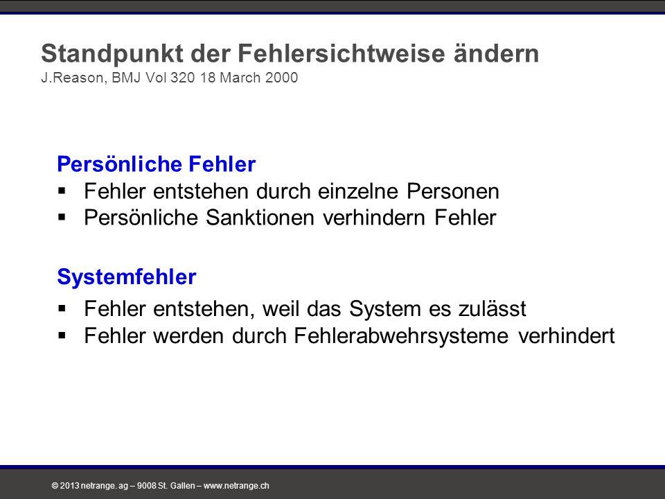 © 2013 netrange. ag – 9008 St. Gallen – www.netrange.ch Standpunkt der Fehlersichtweise ändern J.Reason, BMJ Vol 320 18 March 2000 Systemfehler  Fehl