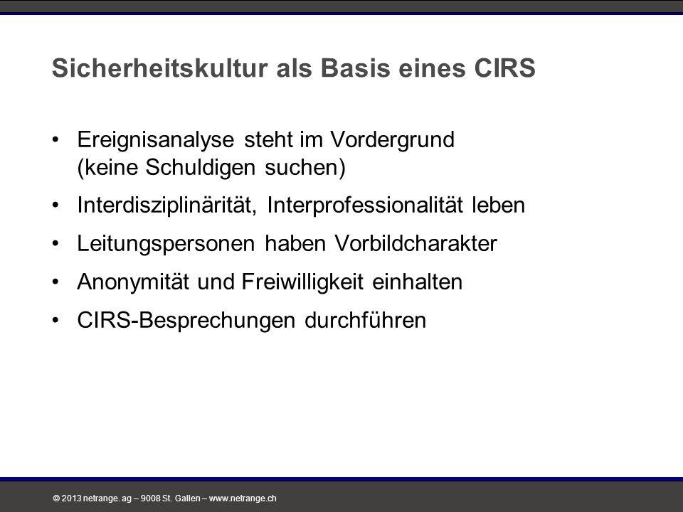 © 2013 netrange. ag – 9008 St. Gallen – www.netrange.ch Sicherheitskultur als Basis eines CIRS Ereignisanalyse steht im Vordergrund (keine Schuldigen