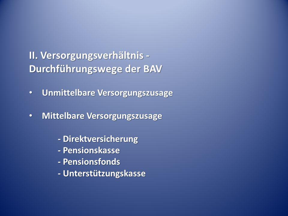 II. Versorgungsverhältnis - Durchführungswege der BAV Unmittelbare Versorgungszusage Unmittelbare Versorgungszusage Mittelbare Versorgungszusage Mitte
