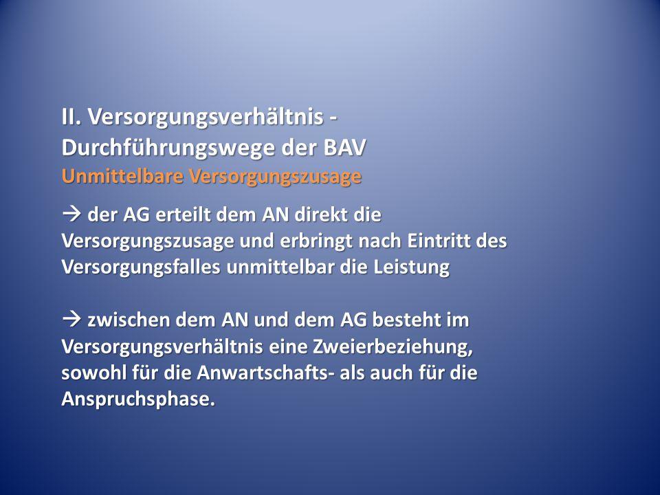 II. Versorgungsverhältnis - Durchführungswege der BAV Unmittelbare Versorgungszusage  der AG erteilt dem AN direkt die Versorgungszusage und erbringt
