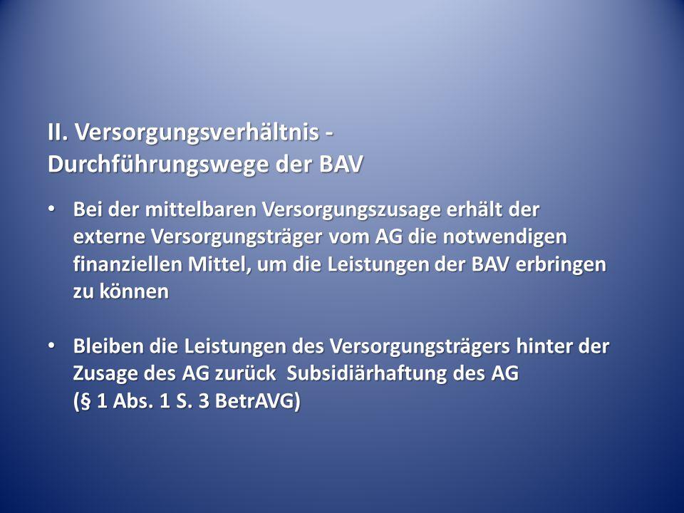 II. Versorgungsverhältnis - Durchführungswege der BAV Bei der mittelbaren Versorgungszusage erhält der externe Versorgungsträger vom AG die notwendige