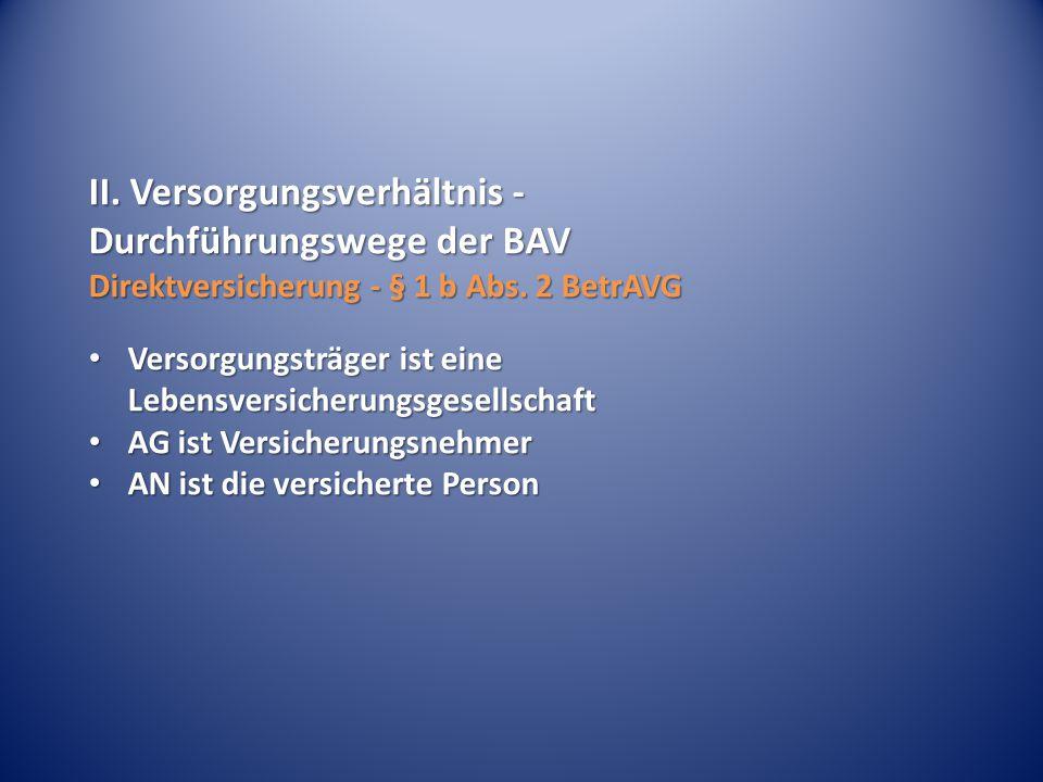 II.Versorgungsverhältnis - Durchführungswege der BAV Direktversicherung - § 1 b Abs.