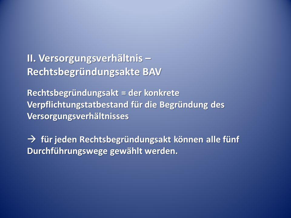 II. Versorgungsverhältnis – Rechtsbegründungsakte BAV Rechtsbegründungsakt = der konkrete Verpflichtungstatbestand für die Begründung des Versorgungsv
