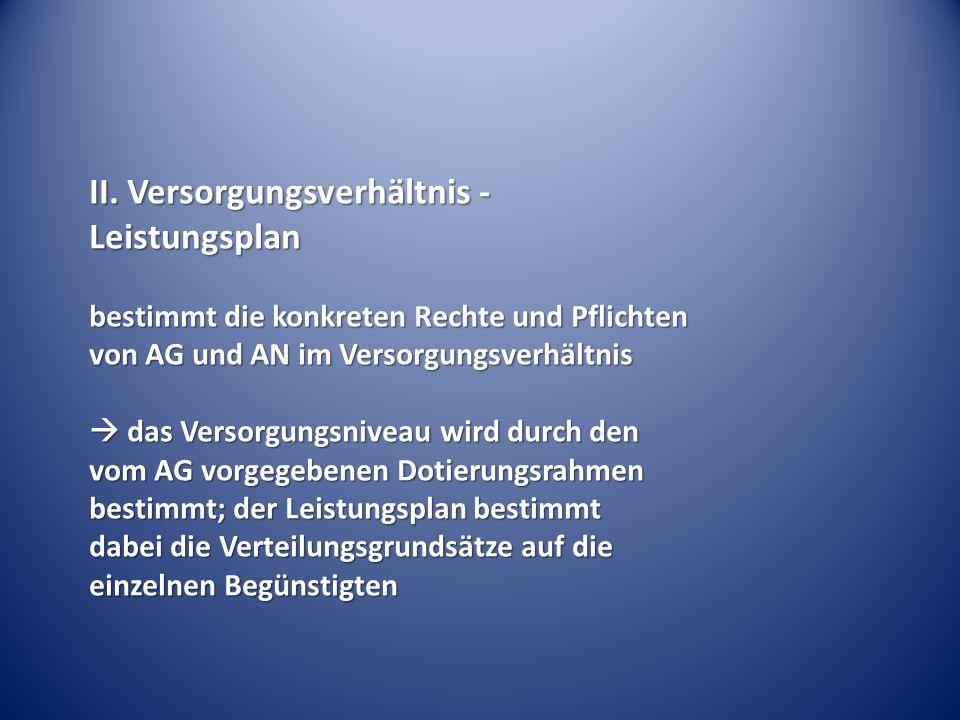 II. Versorgungsverhältnis - Leistungsplan bestimmt die konkreten Rechte und Pflichten von AG und AN im Versorgungsverhältnis  das Versorgungsniveau w