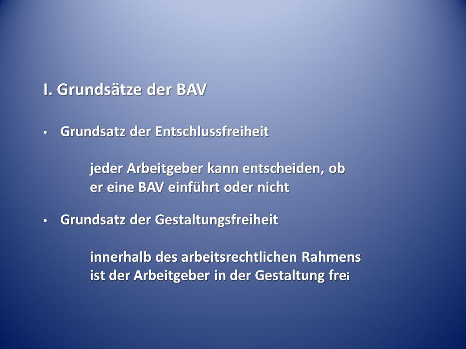 I. Grundsätze der BAV Grundsatz der Entschlussfreiheit Grundsatz der Entschlussfreiheit jeder Arbeitgeber kann entscheiden, ob jeder Arbeitgeber kann