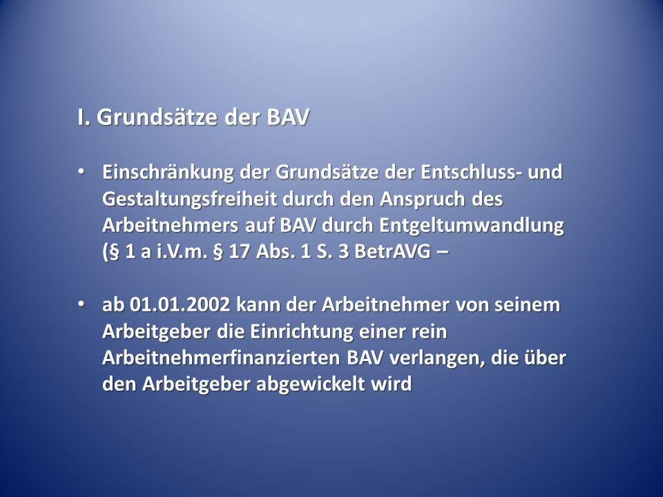 I. Grundsätze der BAV Einschränkung der Grundsätze der Entschluss- und Gestaltungsfreiheit durch den Anspruch des Arbeitnehmers auf BAV durch Entgeltu