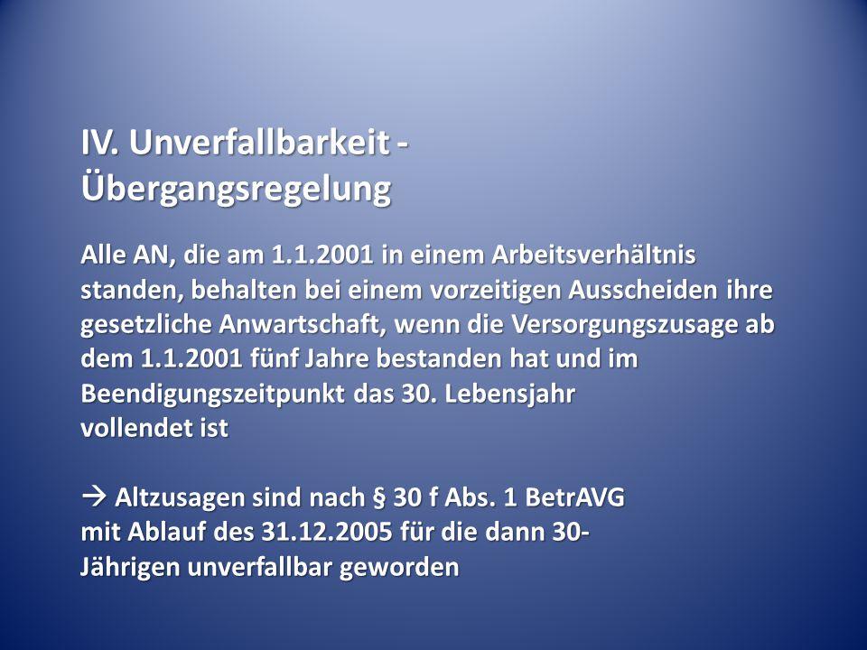 IV. Unverfallbarkeit - Übergangsregelung Alle AN, die am 1.1.2001 in einem Arbeitsverhältnis standen, behalten bei einem vorzeitigen Ausscheiden ihre