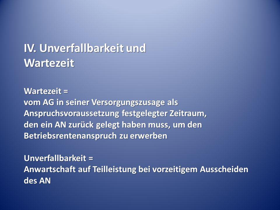 IV. Unverfallbarkeit und Wartezeit Wartezeit = vom AG in seiner Versorgungszusage als Anspruchsvoraussetzung festgelegter Zeitraum, den ein AN zurück