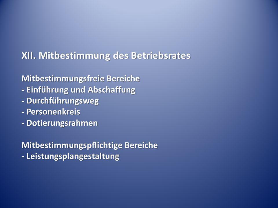 XII. Mitbestimmung des Betriebsrates Mitbestimmungsfreie Bereiche - Einführung und Abschaffung - Durchführungsweg - Personenkreis - Dotierungsrahmen M