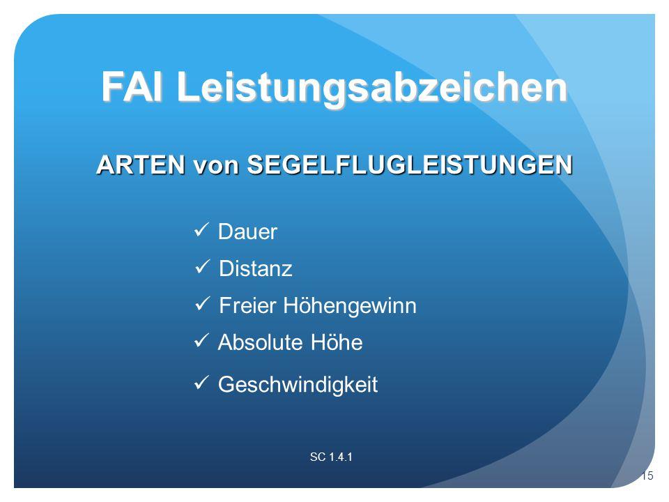 ARTEN von SEGELFLUGLEISTUNGEN SC 1.4.1 FAI Leistungsabzeichen Dauer Distanz Freier Höhengewinn Absolute Höhe Geschwindigkeit 15