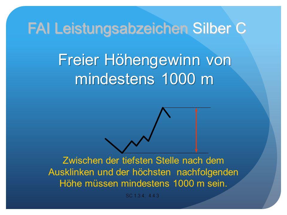 Zwischen der tiefsten Stelle nach dem Ausklinken und der höchsten nachfolgenden Höhe müssen mindestens 1000 m sein.