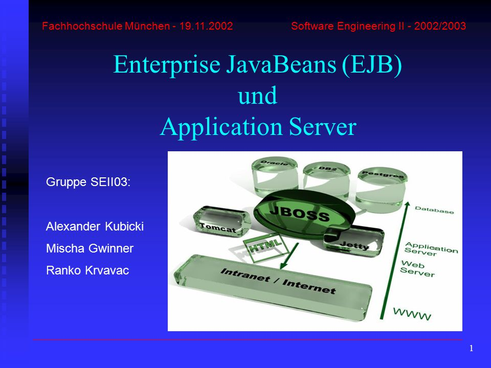 1 Fachhochschule München - 19.11.2002 Software Engineering II - 2002/2003 Enterprise JavaBeans (EJB) und Application Server Gruppe SEII03: Alexander Kubicki Mischa Gwinner Ranko Krvavac