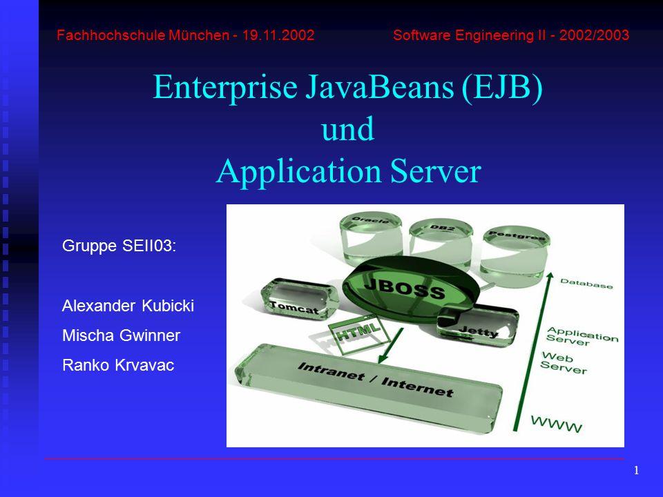 "62 Remote-Interface ""Converter.java package converter.ejb; import javax.ejb.EJBObject; import java.rmi.RemoteException; import java.math.*; public interface Converter extends EJBObject { public BigDecimal euroToDollar(BigDecimal dollars) throws RemoteException; public BigDecimal euroToYen(BigDecimal yen) throws RemoteException; public BigDecimal euroToPound(BigDecimal yen) throws RemoteException; } Alexander Kubicki – EJB-Entwicklung und Beispiel Enterprise JavaBeans und Application Server EJB-Bestandteile EJB-Arten EJB-Entwicklung EJB-Beispiel"