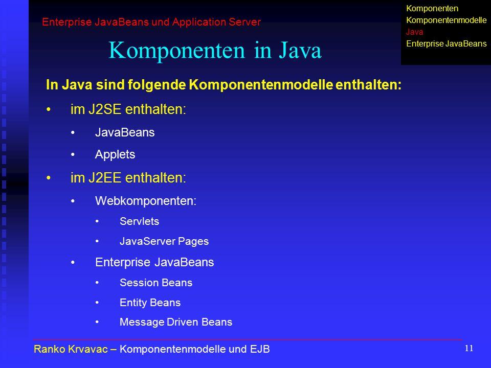 11 Komponenten in Java Ranko Krvavac – Komponentenmodelle und EJB In Java sind folgende Komponentenmodelle enthalten: im J2SE enthalten: JavaBeans App