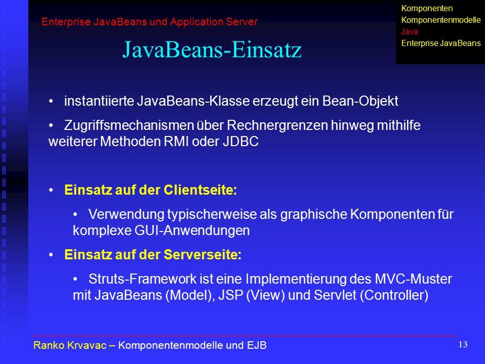 13 JavaBeans-Einsatz Ranko Krvavac – Komponentenmodelle und EJB instantiierte JavaBeans-Klasse erzeugt ein Bean-Objekt Zugriffsmechanismen über Rechne