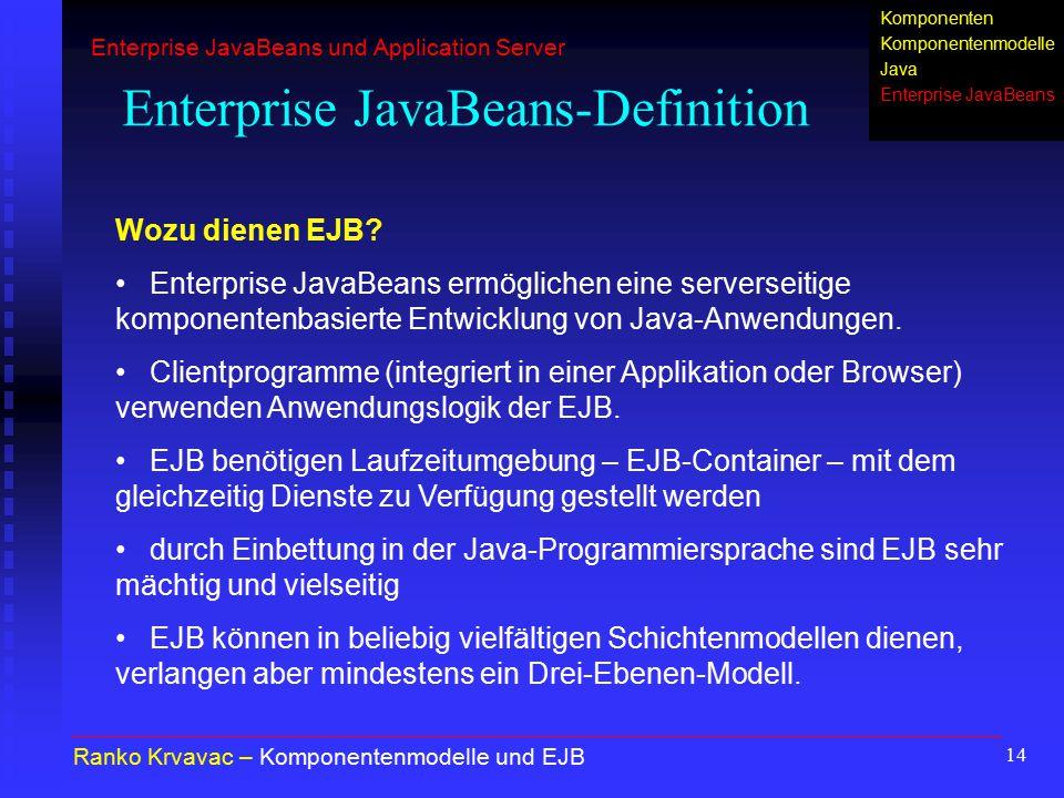 14 Enterprise JavaBeans-Definition Ranko Krvavac – Komponentenmodelle und EJB Wozu dienen EJB? Enterprise JavaBeans ermöglichen eine serverseitige kom