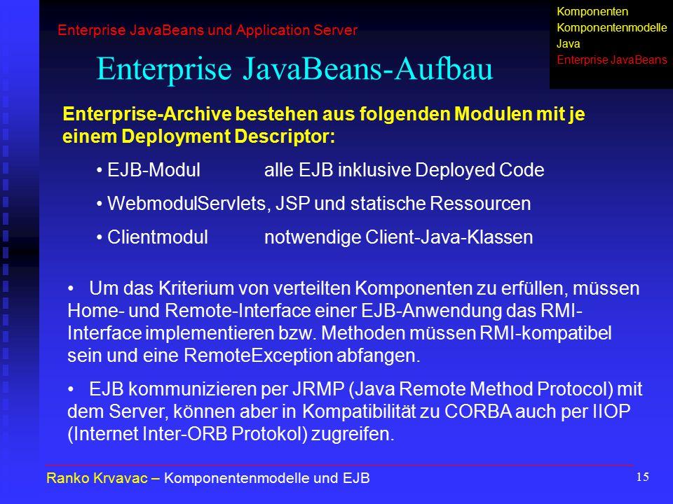 15 Enterprise JavaBeans-Aufbau Ranko Krvavac – Komponentenmodelle und EJB Um das Kriterium von verteilten Komponenten zu erfüllen, müssen Home- und Re