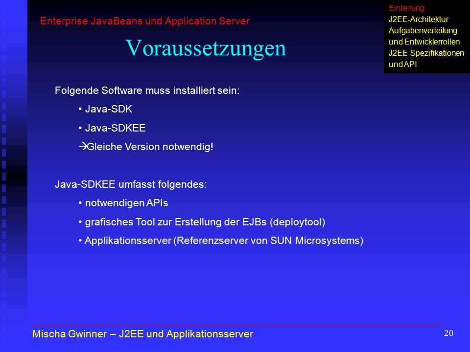 20 Voraussetzungen Folgende Software muss installiert sein: Java-SDK Java-SDKEE  Gleiche Version notwendig! Java-SDKEE umfasst folgendes: notwendigen