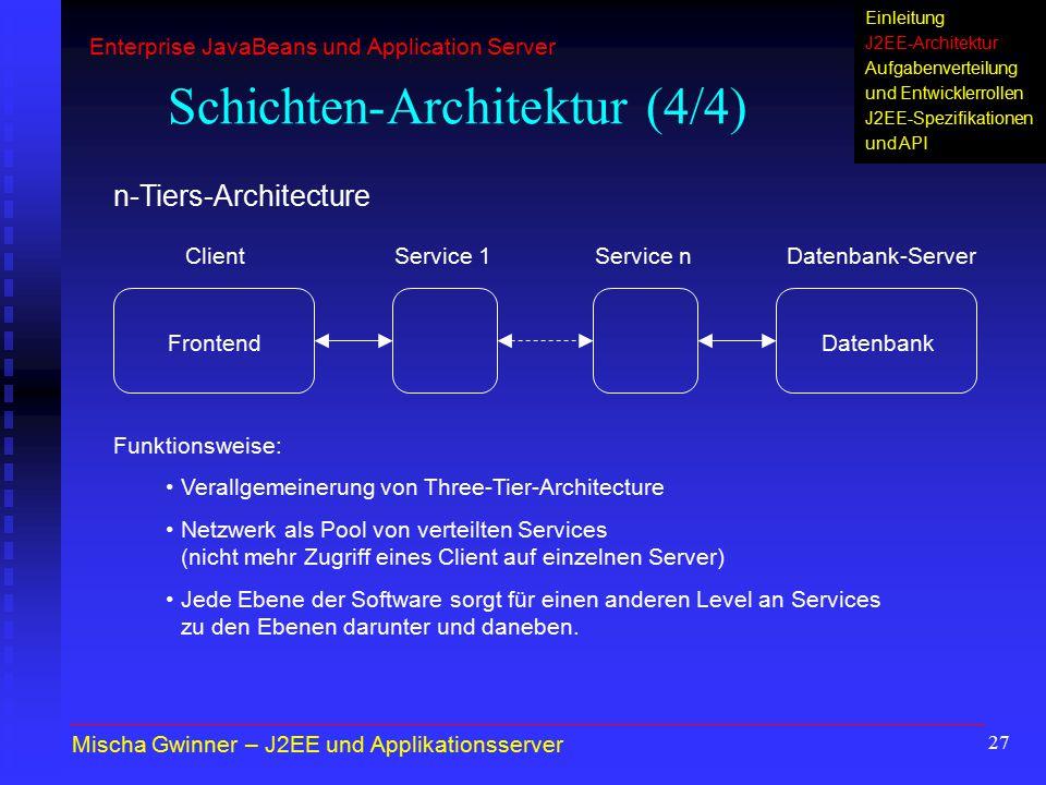 27 Schichten-Architektur (4/4) n-Tiers-Architecture ClientDatenbank-Server FrontendDatenbank Funktionsweise: Verallgemeinerung von Three-Tier-Architec