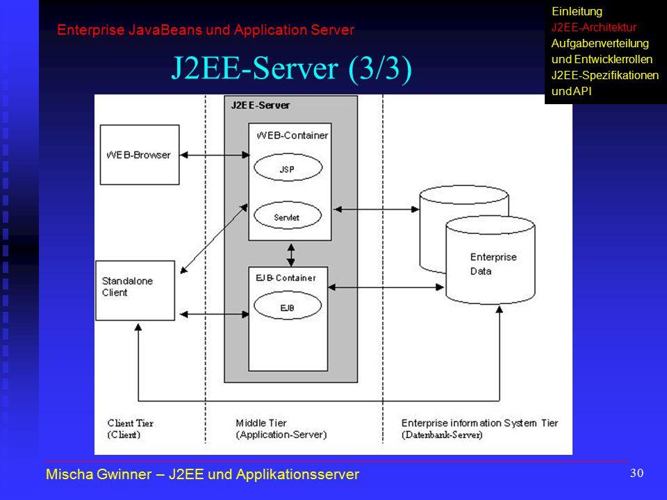 30 J2EE-Server (3/3) Mischa Gwinner – J2EE und Applikationsserver Enterprise JavaBeans und Application Server Einleitung J2EE-Architektur Aufgabenvert