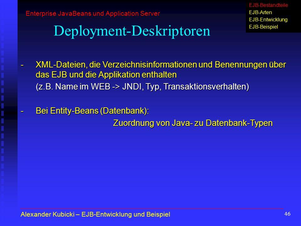 46 Deployment-Deskriptoren -XML-Dateien, die Verzeichnisinformationen und Benennungen über das EJB und die Applikation enthalten (z.B. Name im WEB ->