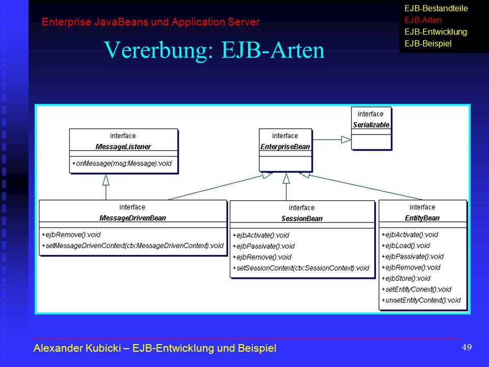 49 Vererbung: EJB-Arten Alexander Kubicki – EJB-Entwicklung und Beispiel Enterprise JavaBeans und Application Server EJB-Bestandteile EJB-Arten EJB-En