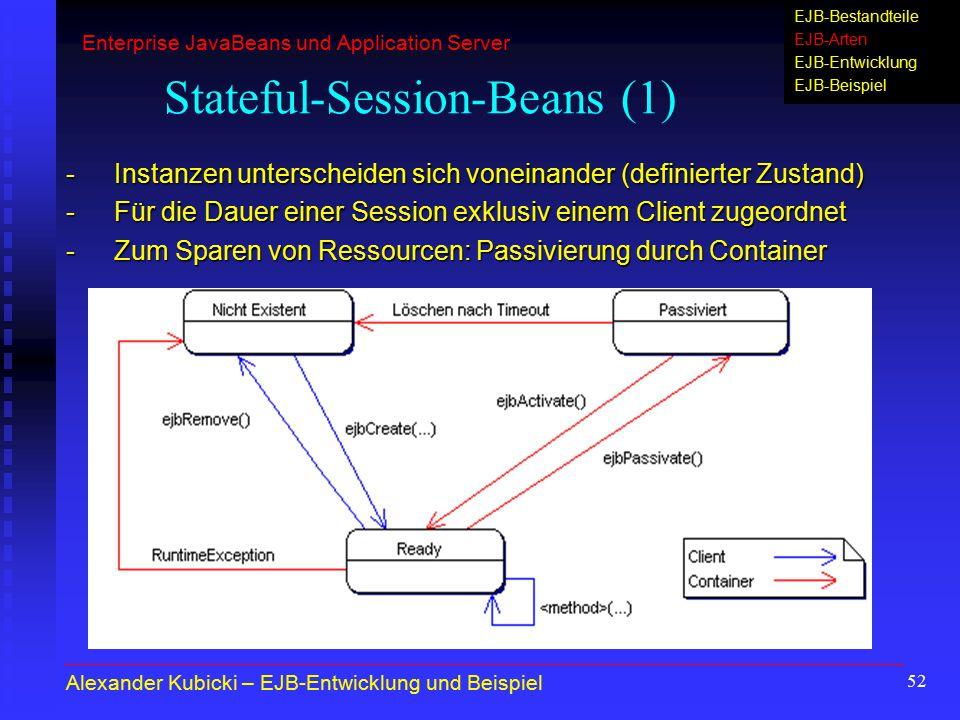 52 Stateful-Session-Beans (1) -Instanzen unterscheiden sich voneinander (definierter Zustand) -Für die Dauer einer Session exklusiv einem Client zugeo