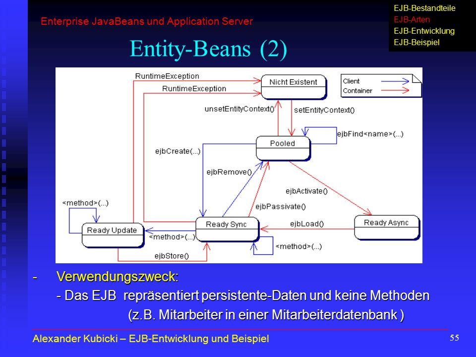 55 Entity-Beans (2) -Verwendungszweck: - Das EJB repräsentiert persistente-Daten und keine Methoden (z.B. Mitarbeiter in einer Mitarbeiterdatenbank )