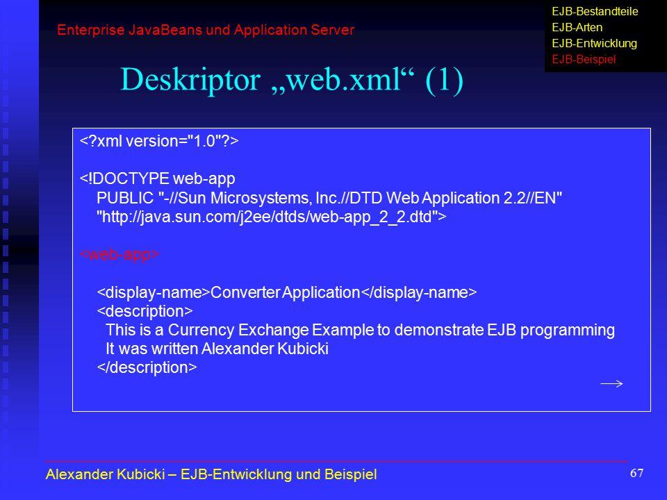 """67 Deskriptor """"web.xml"""" (1) <!DOCTYPE web-app PUBLIC"""