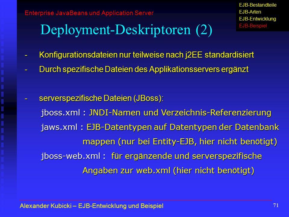71 Deployment-Deskriptoren (2) - Konfigurationsdateien nur teilweise nach j2EE standardisiert -Durch spezifische Dateien des Applikationsservers ergän