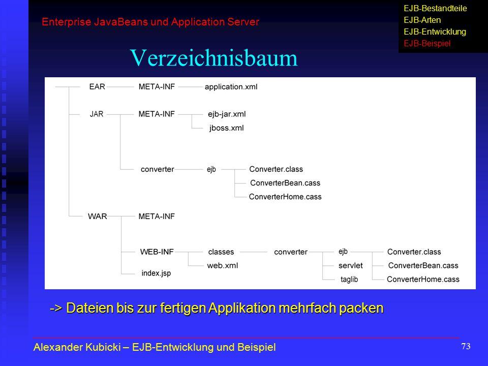 73 Verzeichnisbaum Alexander Kubicki – EJB-Entwicklung und Beispiel -> Dateien bis zur fertigen Applikation mehrfach packen Enterprise JavaBeans und A