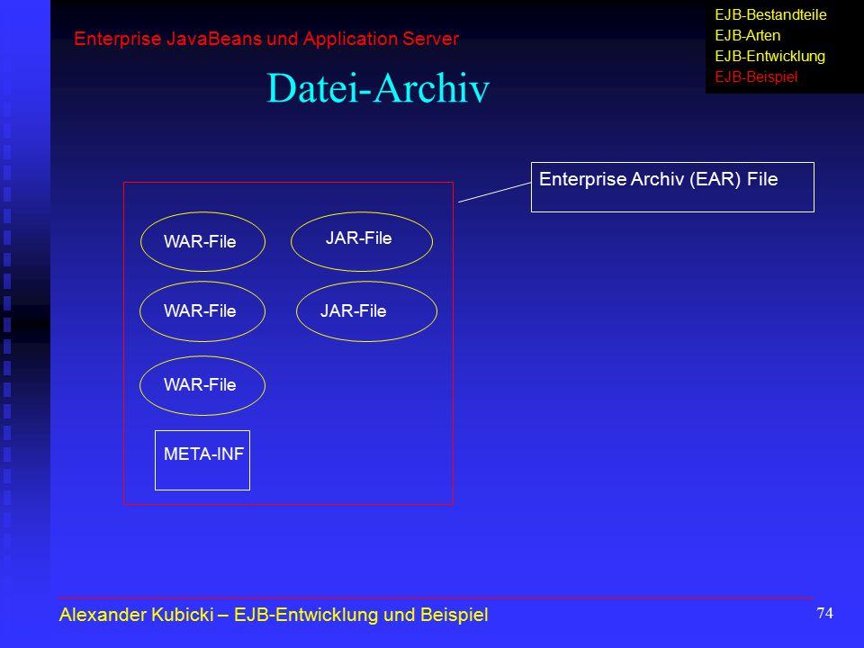 74 Datei-Archiv Enterprise Archiv (EAR) File WAR-File JAR-File WAR-File JAR-File META-INF Alexander Kubicki – EJB-Entwicklung und Beispiel Enterprise