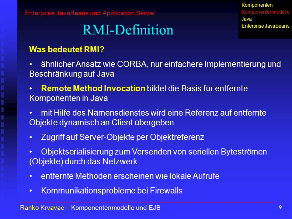 "60 EJB-Klasse ""ConverterBean.java (1) package converter.ejb; import java.rmi.RemoteException; import javax.ejb.SessionBean; import javax.ejb.SessionContext; import java.math.*; public class ConverterBean implements SessionBean { //Exchange Rate: 28.09.2002, 12:56 BigDecimal yenRate = new BigDecimal( 120.1500 ); BigDecimal dollarRate = new BigDecimal( 1.0233 ); BigDecimal poundRate = new BigDecimal( 0.628 ); Alexander Kubicki – EJB-Entwicklung und Beispiel Enterprise JavaBeans und Application Server EJB-Bestandteile EJB-Arten EJB-Entwicklung EJB-Beispiel"