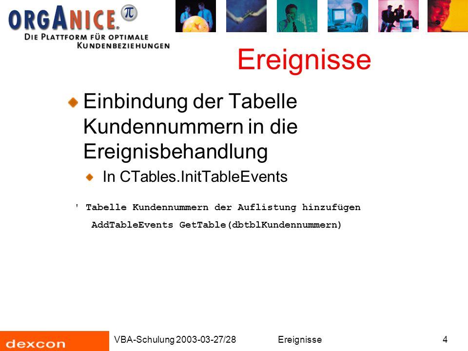 VBA-Schulung 2003-03-27/28Ereignisse4 Einbindung der Tabelle Kundennummern in die Ereignisbehandlung In CTables.InitTableEvents ' Tabelle Kundennummer