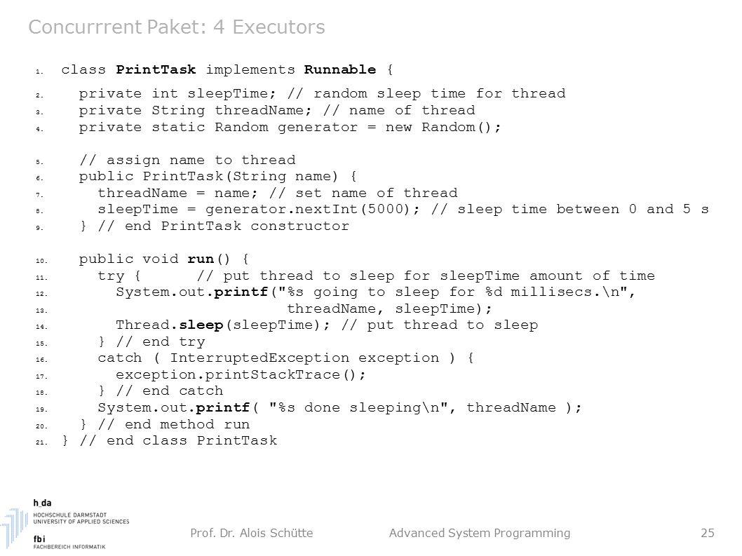 Prof. Dr. Alois Schütte Advanced System Programming 25 Concurrrent Paket: 4 Executors 1.