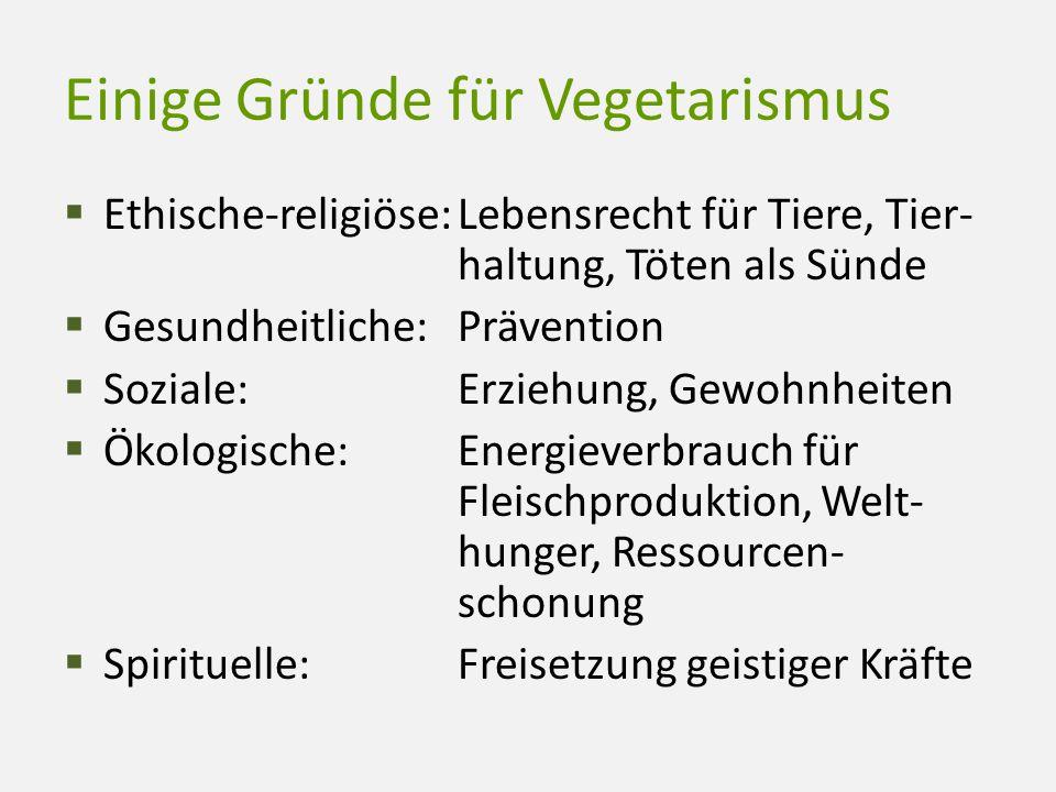 Einige Gründe für Vegetarismus  Ethische-religiöse:Lebensrecht für Tiere, Tier- haltung, Töten als Sünde  Gesundheitliche:Prävention  Soziale:Erzie