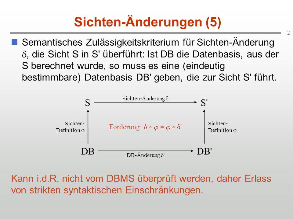 2 Sichten-Änderungen (5) Semantisches Zulässigkeitskriterium für Sichten-Änderung , die Sicht S in S überführt: Ist DB die Datenbasis, aus der S berechnet wurde, so muss es eine (eindeutig bestimmbare) Datenbasis DB geben, die zur Sicht S führt.