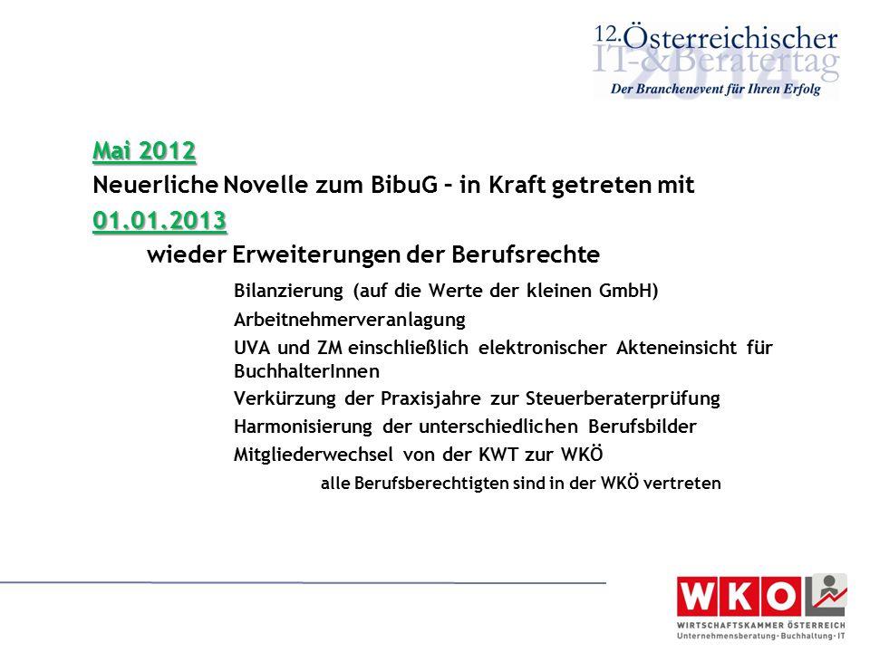 Mai 2012 Neuerliche Novelle zum BibuG – in Kraft getreten mit01.01.2013 wieder Erweiterungen der Berufsrechte Bilanzierung (auf die Werte der kleinen