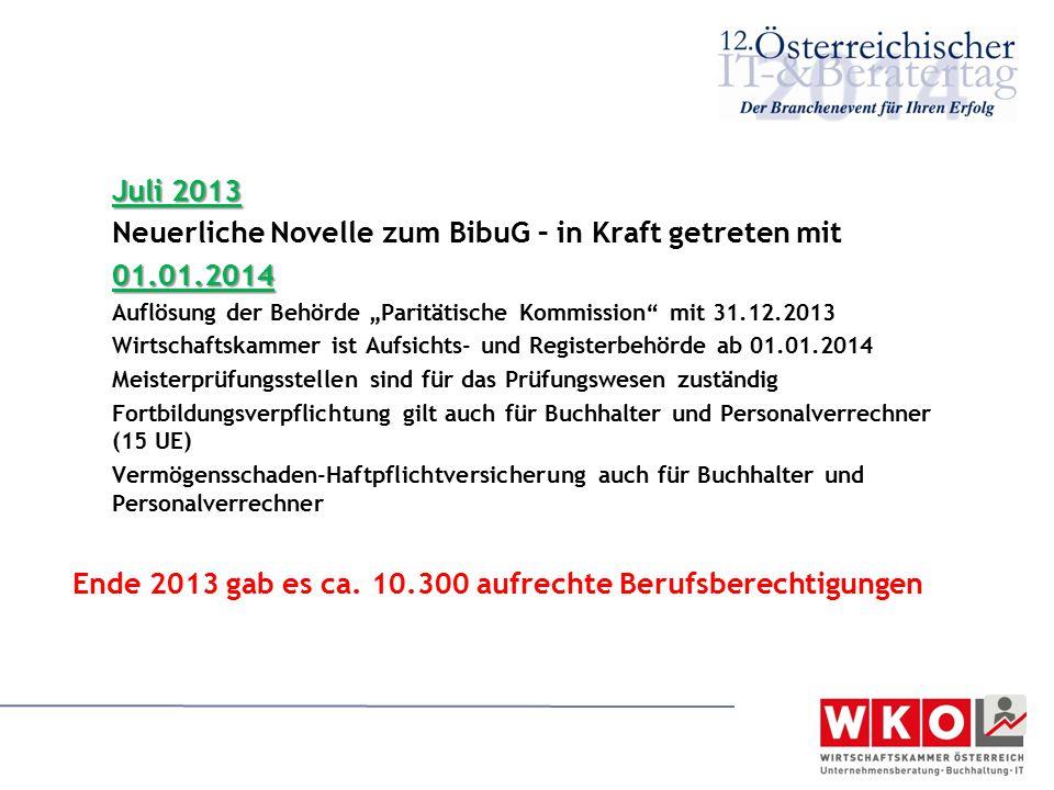 """Juli 2013 Neuerliche Novelle zum BibuG – in Kraft getreten mit01.01.2014 Auflösung der Behörde """"Paritätische Kommission"""" mit 31.12.2013 Wirtschaftskam"""