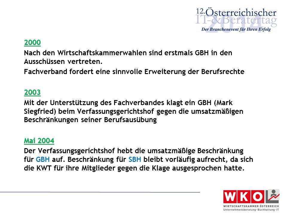 2000 Nach den Wirtschaftskammerwahlen sind erstmals GBH in den Ausschüssen vertreten. Fachverband fordert eine sinnvolle Erweiterung der Berufsrechte2