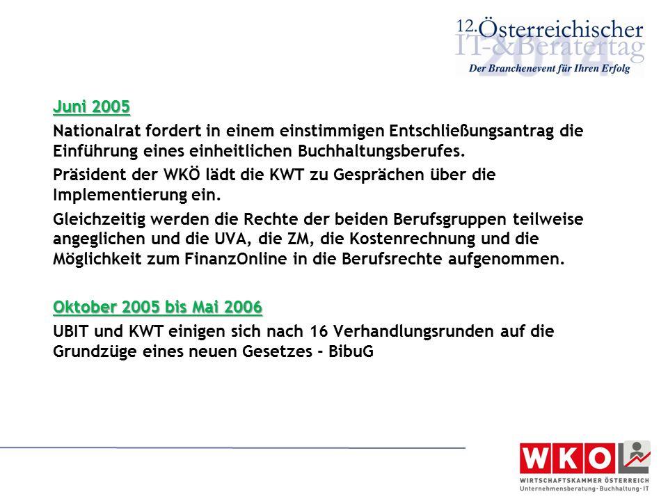 Juni 2005 Nationalrat fordert in einem einstimmigen Entschließungsantrag die Einführung eines einheitlichen Buchhaltungsberufes. Präsident der WKÖ läd