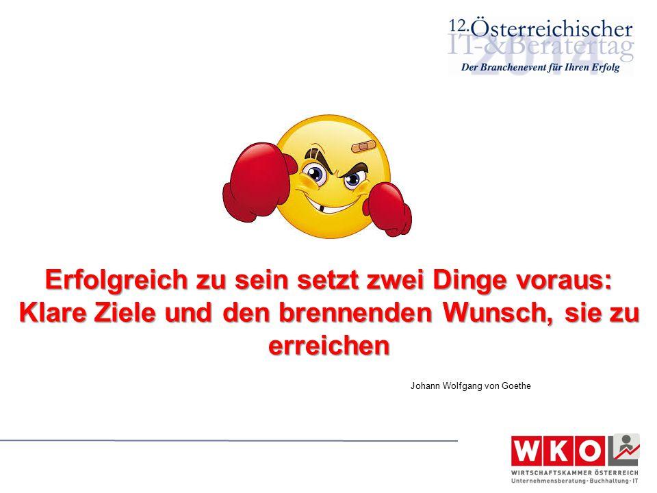 Erfolgreich zu sein setzt zwei Dinge voraus: Klare Ziele und den brennenden Wunsch, sie zu erreichen Johann Wolfgang von Goethe