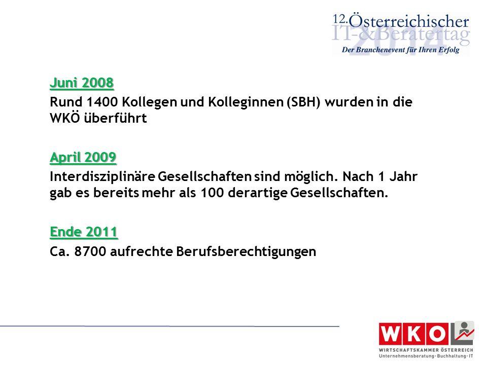Juni 2008 Rund 1400 Kollegen und Kolleginnen (SBH) wurden in die WKÖ überführt April 2009 Interdisziplinäre Gesellschaften sind möglich. Nach 1 Jahr g