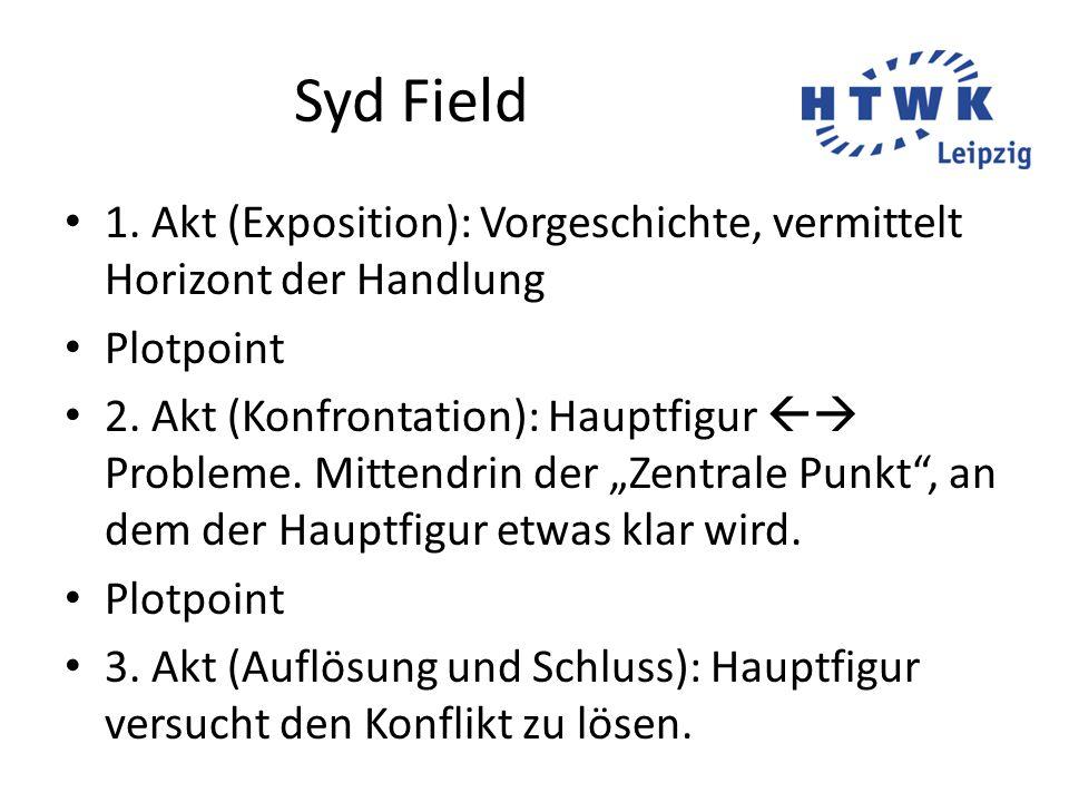 Syd Field 1. Akt (Exposition): Vorgeschichte, vermittelt Horizont der Handlung Plotpoint 2. Akt (Konfrontation): Hauptfigur  Probleme. Mittendrin de
