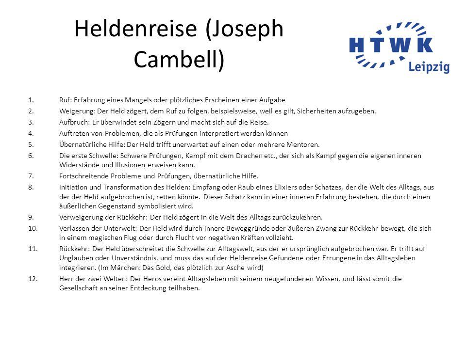 Heldenreise (Joseph Cambell) 1.Ruf: Erfahrung eines Mangels oder plötzliches Erscheinen einer Aufgabe 2.Weigerung: Der Held zögert, dem Ruf zu folgen,
